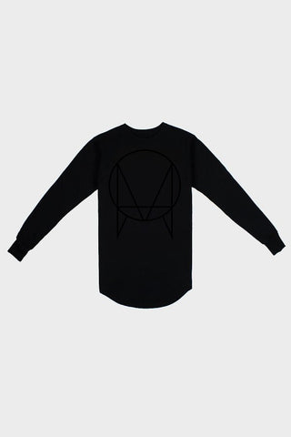 'OWSLA LOGO' SCALLOP LOGO LONG SLEEVE TEE BLACK // UNISEX