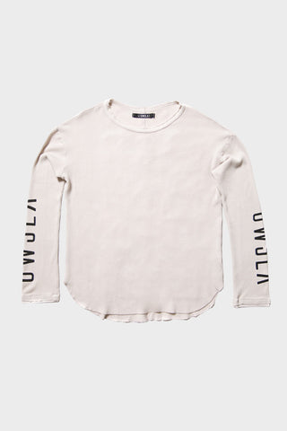 'OWSLA LOGO' LONG SLEEVE THERMAL SHIRT CEMENT // UNISEX