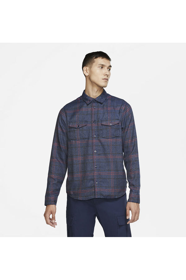 NIKE SB FLANNEL SKATE TOP NAVY