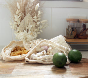 Organic Cotton Produce Bags - Set 3 x L