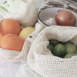 Organic Cotton Produce Bags - Set 3 x Mixed