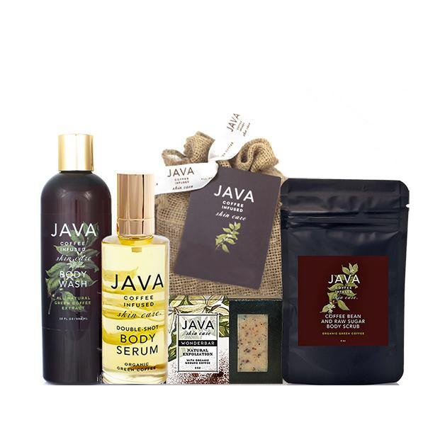 FULL BODY ROUTINE containing full size body wash, body serum, exfoliating soap bar and body scrub - Java Skin Care