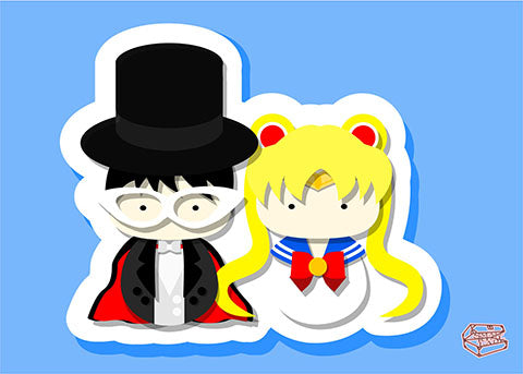 SailorMoon and Tuxedo Kamen Inspired - PostCard Print Kawaii Chibi Creative Kokeshi