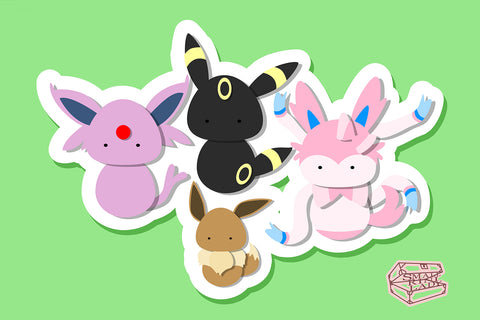 Espeon, Sylveon, Umbreon, and Eevee, Eeveelution Pokemon Inspired - PostCard Print Kawaii Chibi Creative Kokeshi