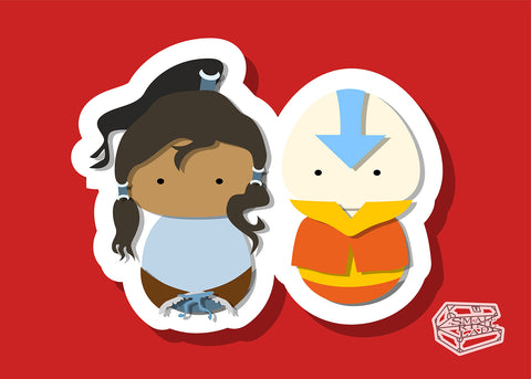 Aang and Korra, Avatar AirBender Inspired - PostCard Print Kawaii Chibi Creative Kokeshi