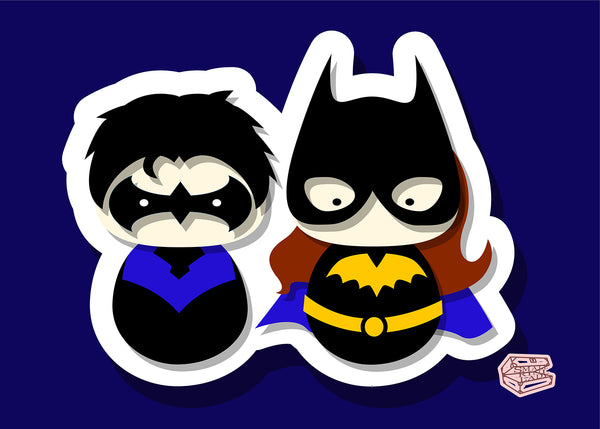 BatGirl and NightWing Inspired - PostCard Print Kawaii Chibi Creative Kokeshi