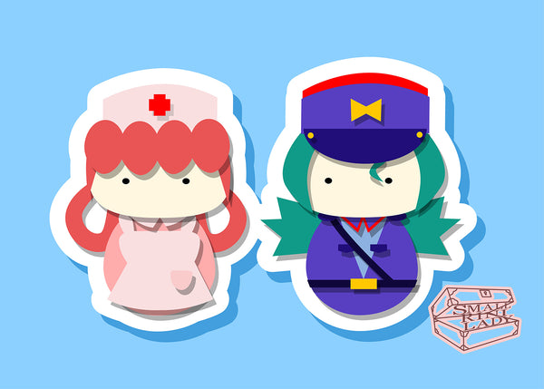 Officer Jenny and Nurse Joy, Pokemon Inspired - PostCard Print Kawaii Chibi Creative Kokeshi