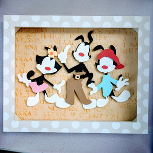 "Yako Wako and Dot, Animaniacs - 8""x10"" Shaowbox PaperCut"
