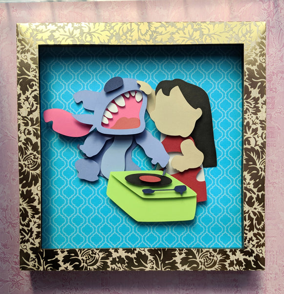 "Lilo and Stitch - 8""x8"" Shaowbox PaperCut"