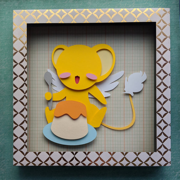 "Kero and Pudding, Cardcaptor Sakura - 8""x8"" Shaowbox PaperCut"