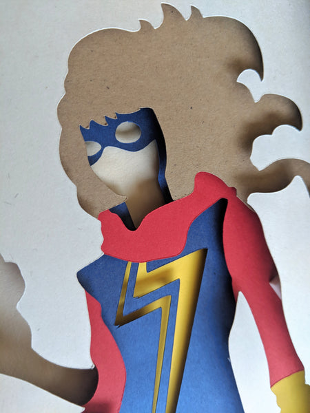 "Kamala Khan Ms Marvel - 5""x7"" Shaowbox PaperCut"