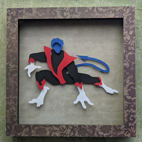 "Nightcrawler, Xmen- 8""x8"" Shaowbox PaperCut"