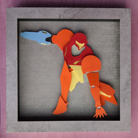 "Samus - 8""x8"" Shaowbox PaperCut"