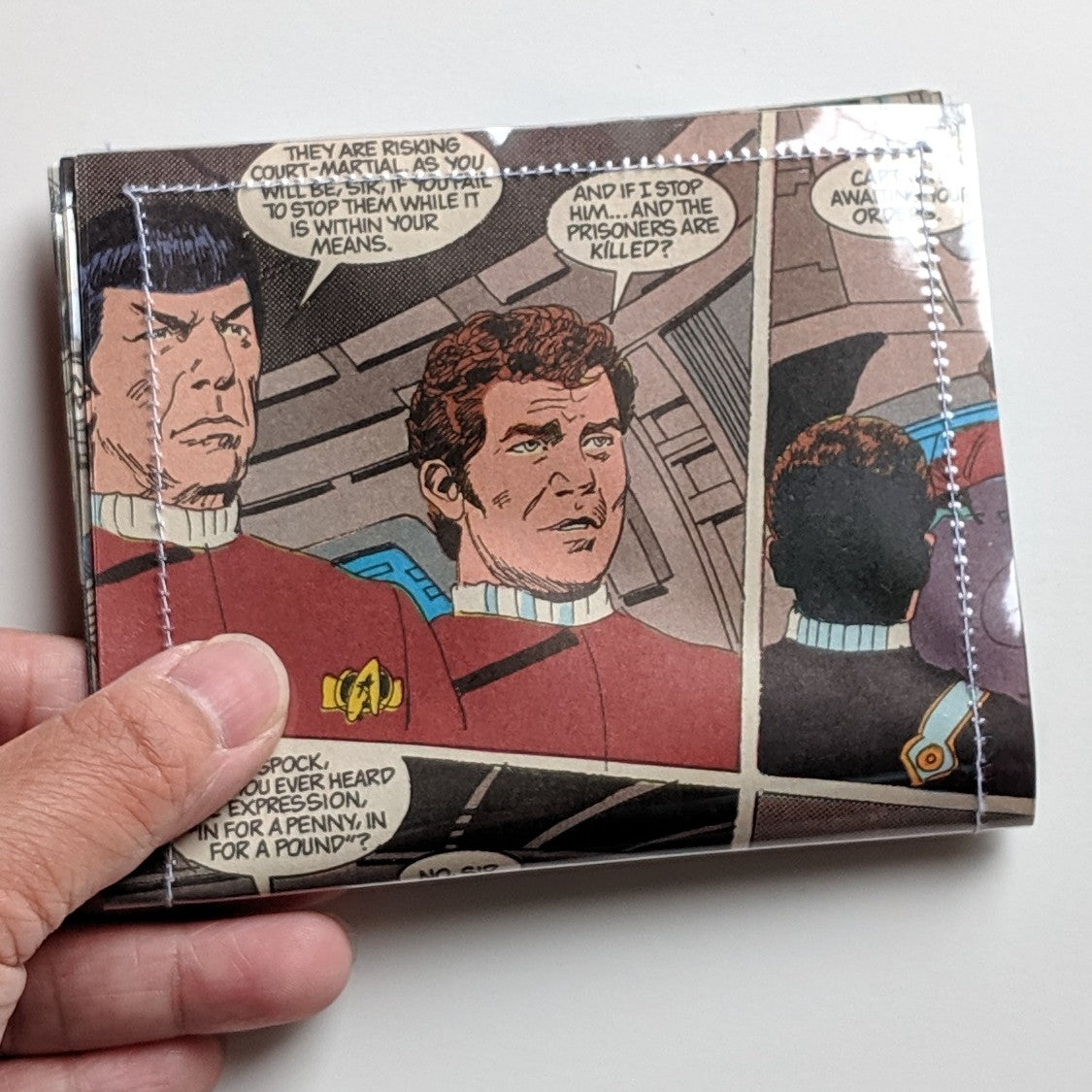 Star Trek, Spock and Captain Kirk - Upcycled Comic Book Vinyl Wallet