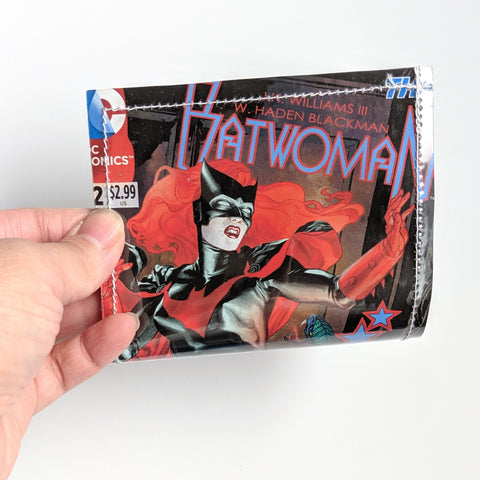 BatWoman - Upcycled Comic Book Vinyl Wallet