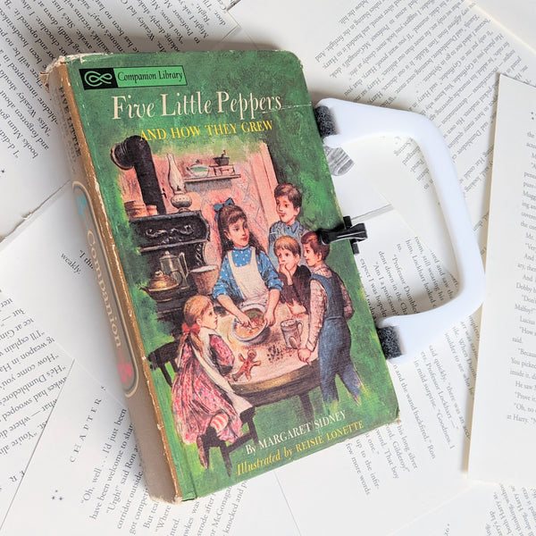 Alice in Wonderland / 5 Little Peppers Book, Library Companion Two Sided - Upcycled Recycled Tote Book Purse