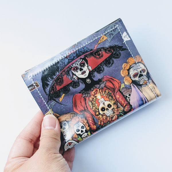 Day of the Dead, Lady Mechanika - Upcycled Comic Book Vinyl Wallet