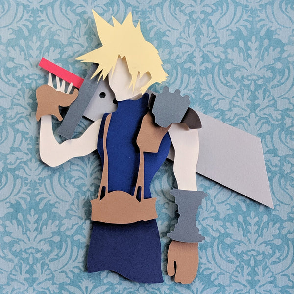 "Cloud Strife, Final Fantasy VII - 8""x8"" Shaowbox PaperCut"