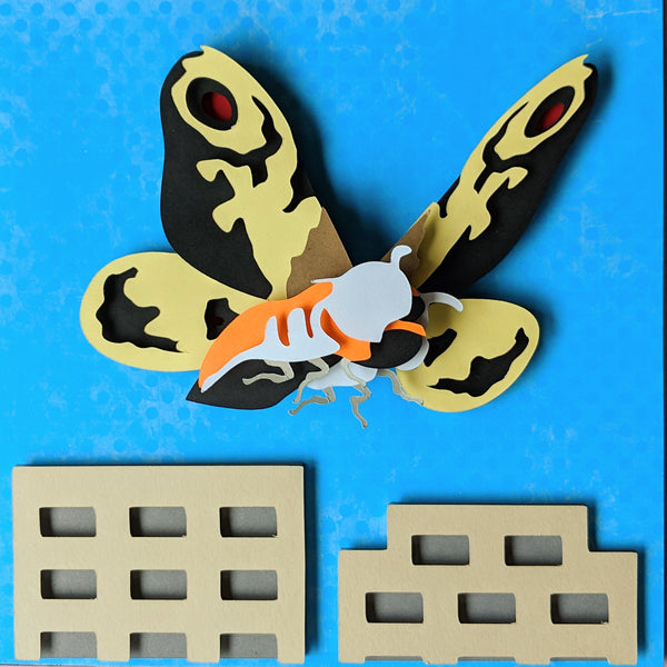 "Mothra - 8""x8"" Shaowbox PaperCut"
