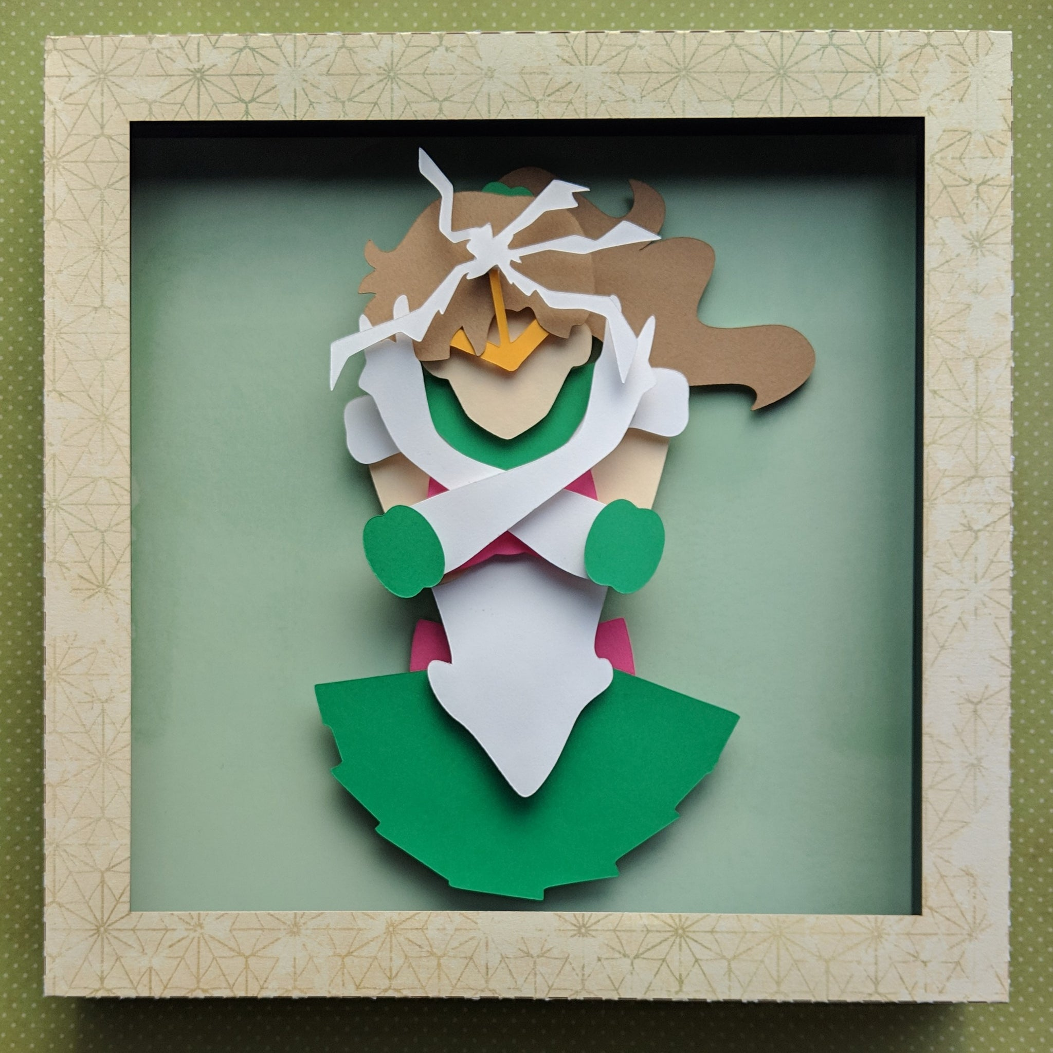 "Sailor Jupiter, SailorMoon - 8""x8"" Shaowbox PaperCut"