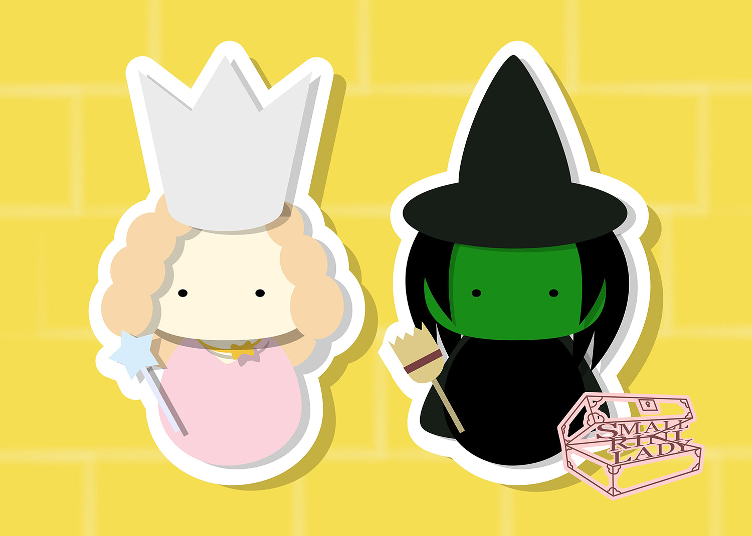 Glinda and Elphaba, Wizard of Oz  - PostCard Print Kawaii Chibi Creative Kokeshi