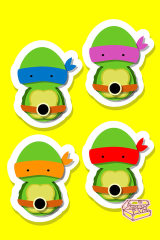 Teenage Mutant Ninja Turtles Inspired - PostCard Print Kawaii Chibi Creative Kokeshi
