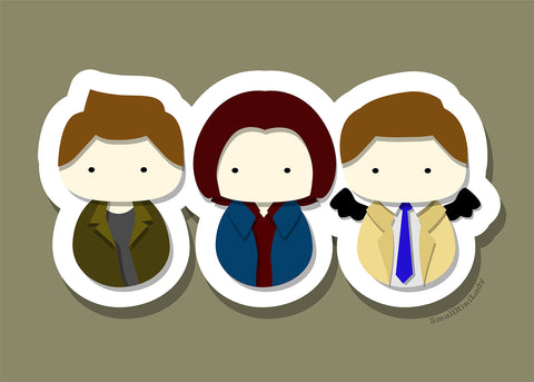 Dean, Sam, and Castiel, Supernatural Inspired - PostCard Print Kawaii Chibi Creative Kokeshi