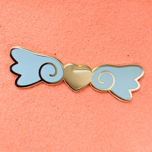 Kawaii Heart Wings Aqua and Gold - Enamel Pin