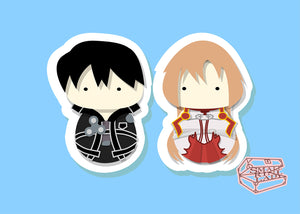 Kirito and Asuna, Sword Art Online Inspired - PostCard Print Kawaii Chibi Creative Kokeshi