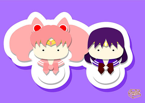 Sailor Chibi Moon and Sailor Saturn, SailorMoon Inspired - PostCard Print Kawaii Chibi Creative Kokeshi