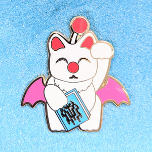 Maneki Neko Lucky Cat Moogle - Enamel Pin