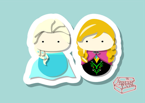 Anna and Elsa Inspired - PostCard Print Kawaii Chibi Creative Kokeshi