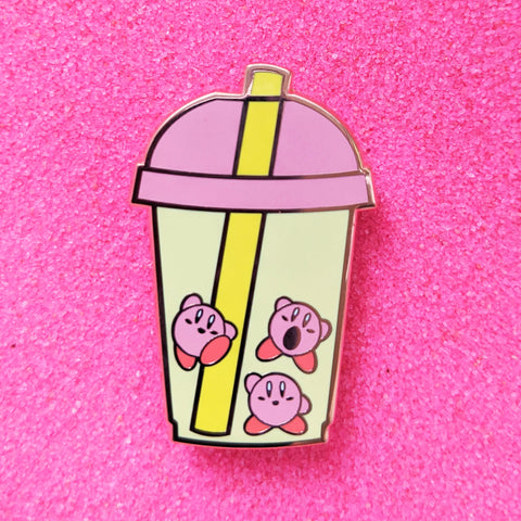Kirby Bubble Boba Milk Tea- Enamel Pin