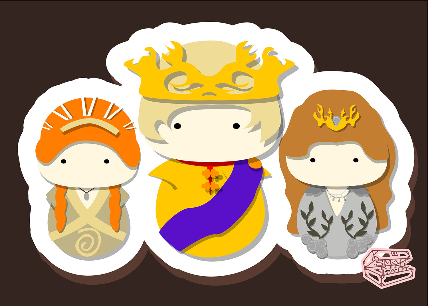 Joffrey Margaery Sansa, Game of Thrones - PostCard Print Kawaii Chibi Creative Kokeshi
