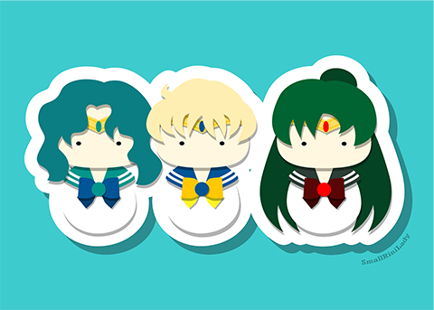 Sailor Neptune, Uranus, and Pluto, SailorMoon Inspired - PostCard Print Kawaii Chibi Creative Kokeshi