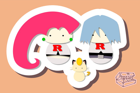 Team Rocket, Pokemon - PostCard Print Kawaii Chibi Creative Kokeshi