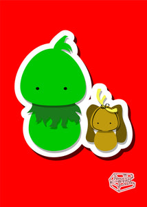Grinch and Max Inspired - PostCard Print Kawaii Chibi Creative Kokeshi