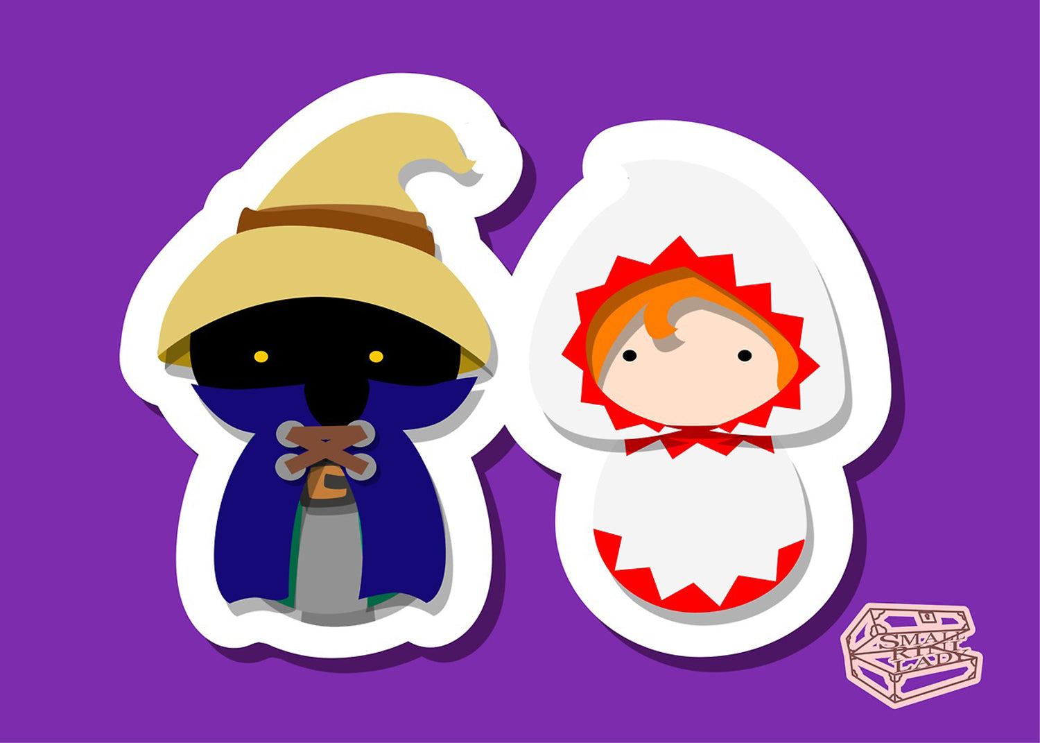 White and Black Mage, Final Fantasy Inspired - PostCard Print Kawaii Chibi Creative Kokeshi