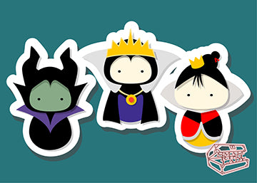 Maleficent, Evil Queen, Queen of Hearts - PostCard Print Kawaii Chibi Creative Kokeshi