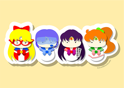 Sailor Mercury, Mars, Jupiter, Venus, SailorMoon Inspired - PostCard Print Kawaii Chibi Creative Kokeshi