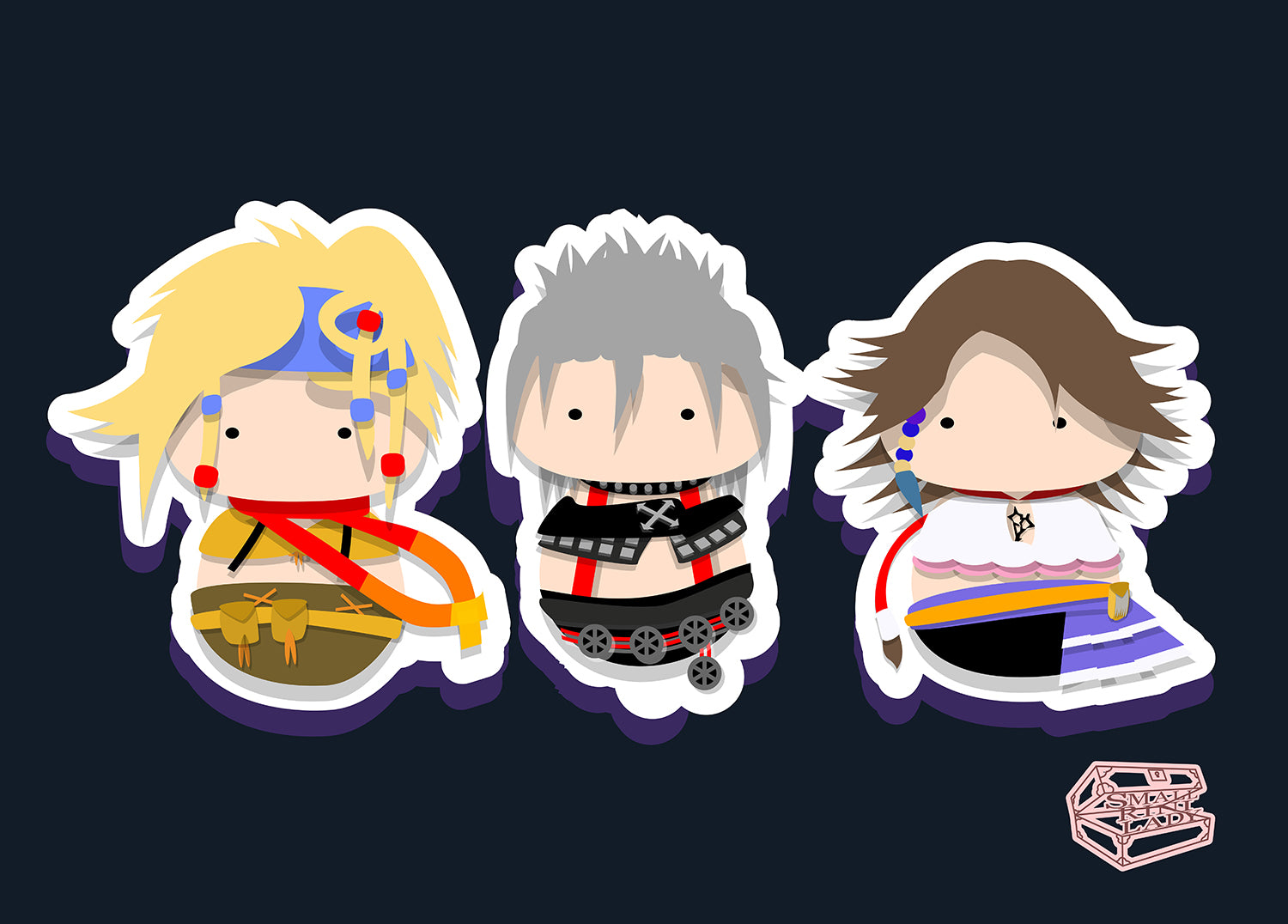 Final Fantasy X Inspired - PostCard Print Kawaii Chibi Creative Kokeshi