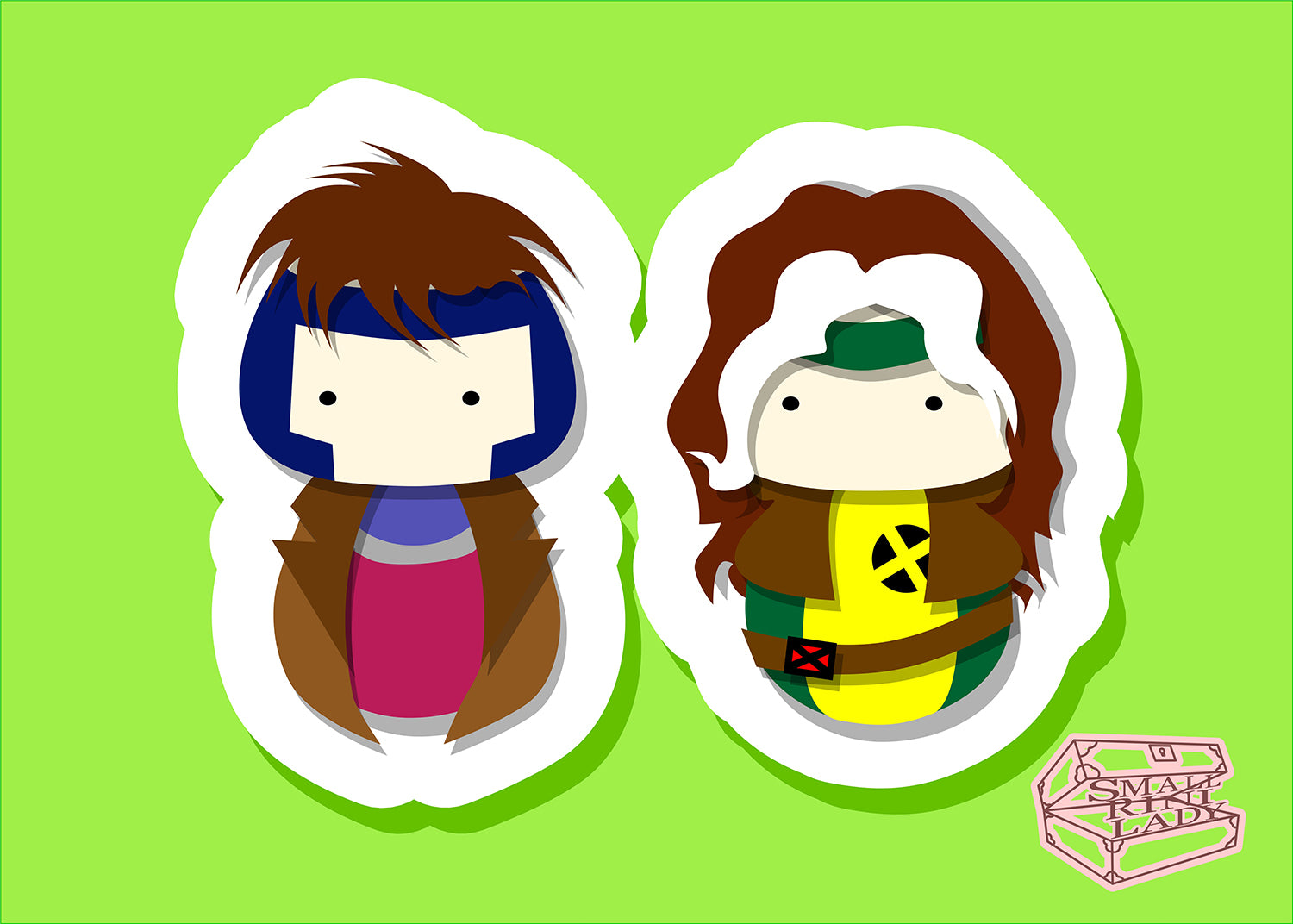 Rouge and Gambit, XMen - PostCard Print Kawaii Chibi Creative Kokeshi