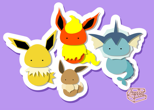Flareon, Vaporeon and Jolteon, Eevee Pokemone Inspired - PostCard Print Kawaii Chibi Creative Kokeshi