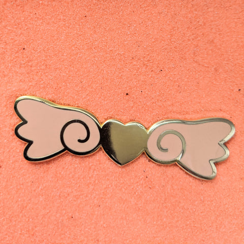 Kawaii Heart Wings Peach and Gold - Enamel Pin