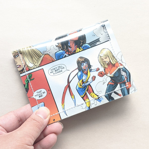Ms Marvel and Captain Marvel  - Upcycled Comic Book Vinyl Wallet