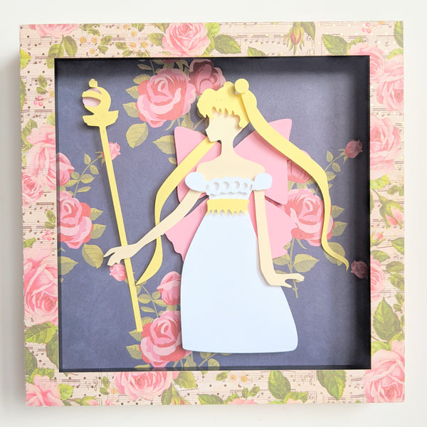 "Princess Serenity, SailorMoon - 8""x8"" Shaowbox PaperCut"