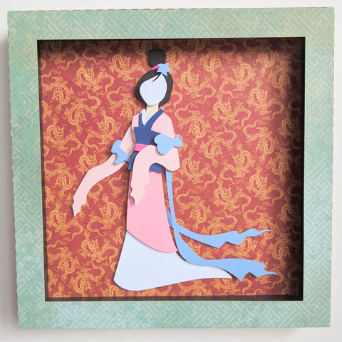 "Mulan  - 8""x8"" Shaowbox PaperCut"