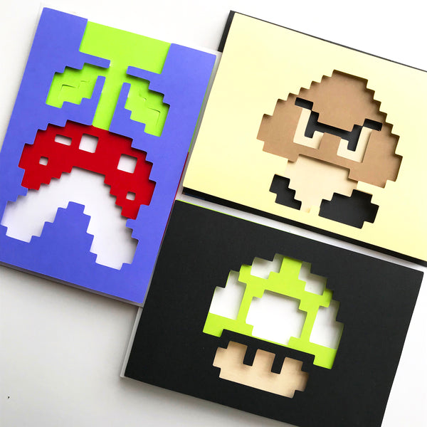 "8bit Mushroon, Mario - 5""x7"" Shaowbox PaperCut"