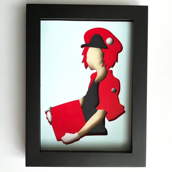"Red Blood Cell, Cells at Work - 5""x7"" Shadowbox PaperCut"