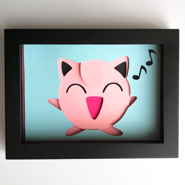 "JigglyPuff, Pokemon - 5""x7"" Shaowbox PaperCut"
